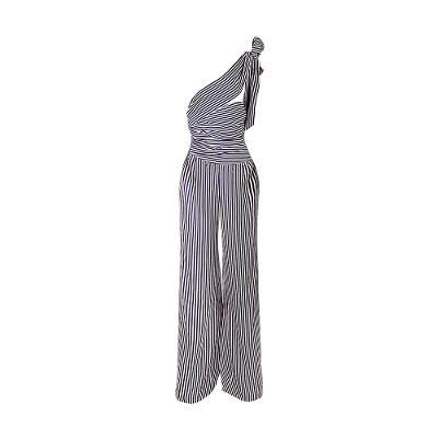self-tie stripe jumpsuit multi